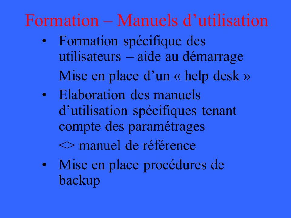 Formation – Manuels d'utilisation