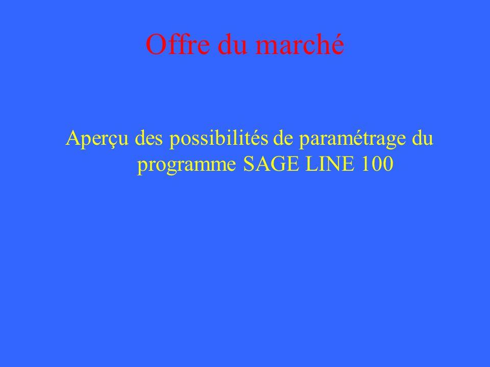 Aperçu des possibilités de paramétrage du programme SAGE LINE 100