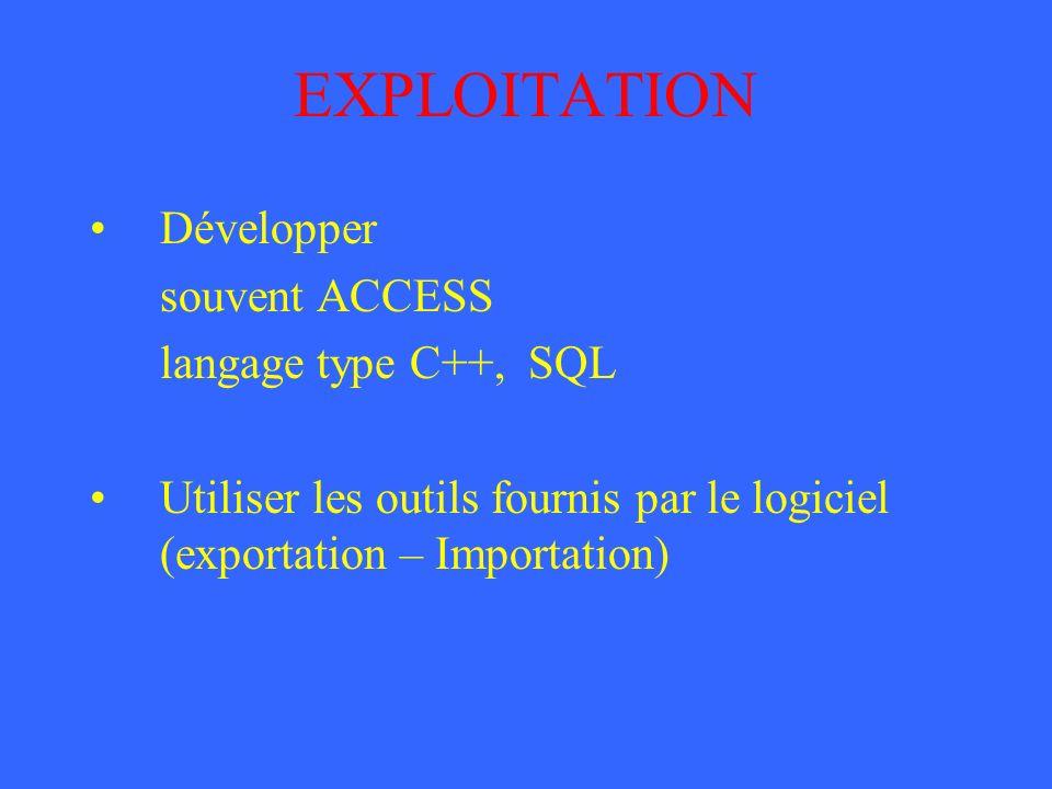 EXPLOITATION Développer souvent ACCESS langage type C++, SQL