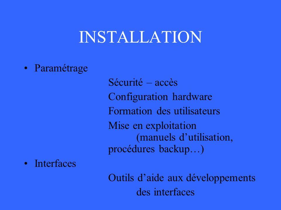 INSTALLATION Paramétrage Sécurité – accès Configuration hardware