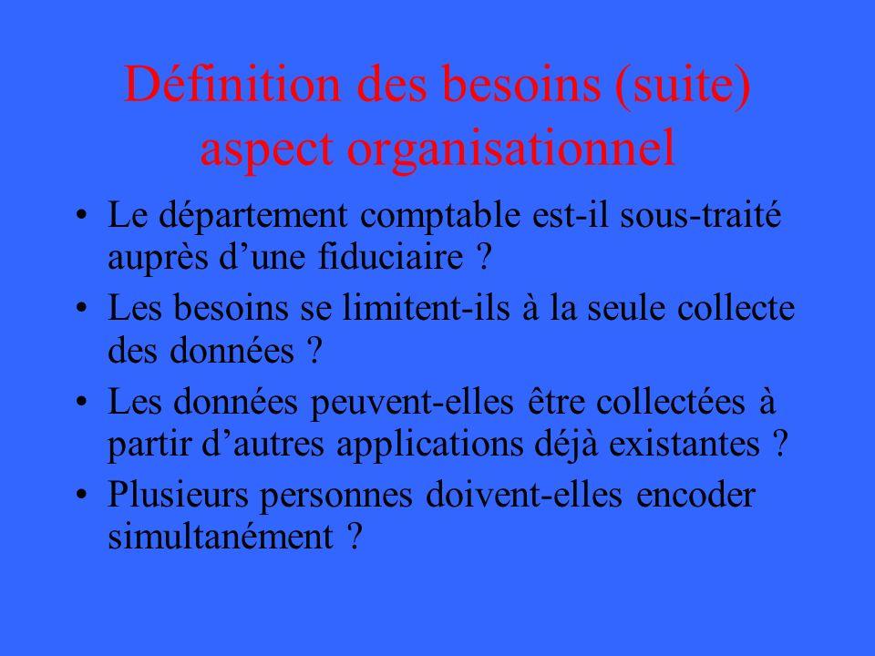 Définition des besoins (suite) aspect organisationnel