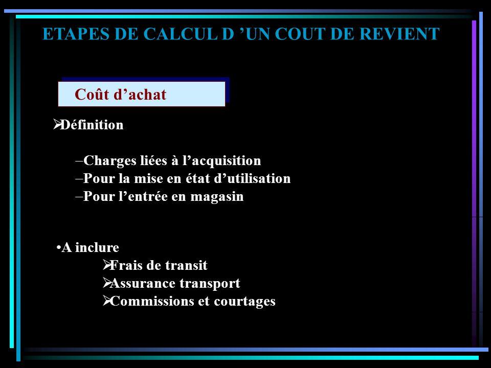 ETAPES DE CALCUL D 'UN COUT DE REVIENT