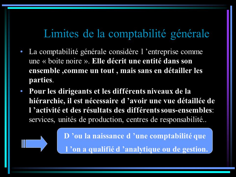 Limites de la comptabilité générale