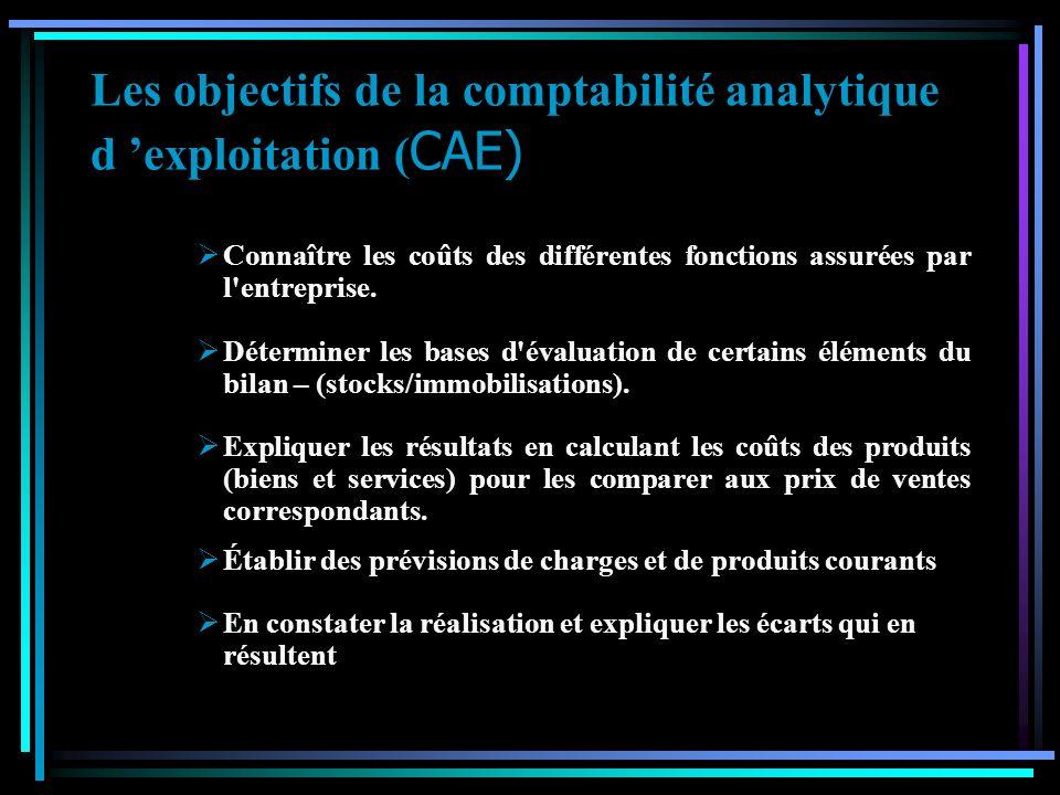 Les objectifs de la comptabilité analytique d 'exploitation (CAE)