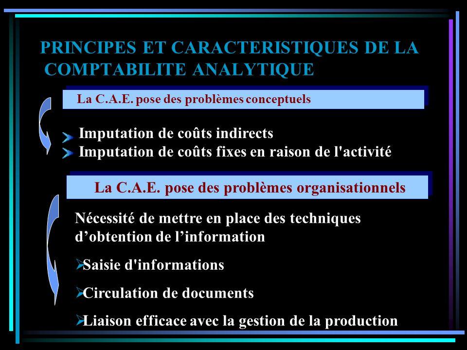 PRINCIPES ET CARACTERISTIQUES DE LA COMPTABILITE ANALYTIQUE