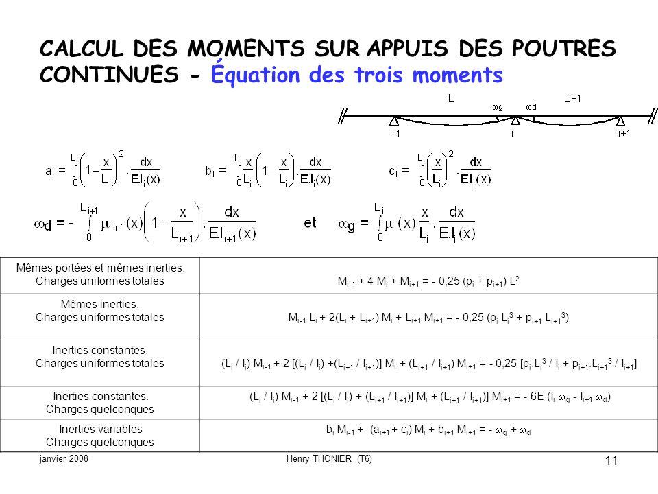 CALCUL DES MOMENTS SUR APPUIS DES POUTRES CONTINUES - Équation des trois moments