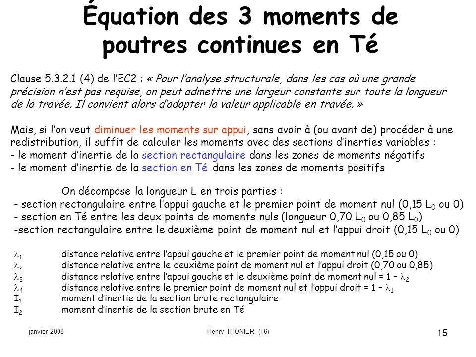 Équation des 3 moments de poutres continues en Té