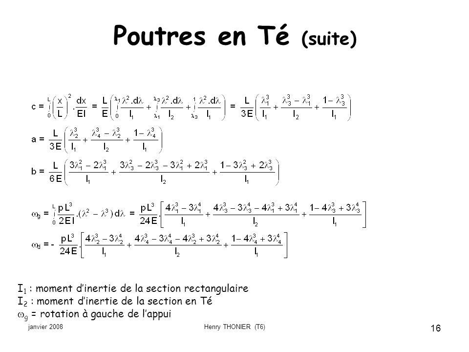 Poutres en Té (suite) I1 : moment d'inertie de la section rectangulaire. I2 : moment d'inertie de la section en Té.