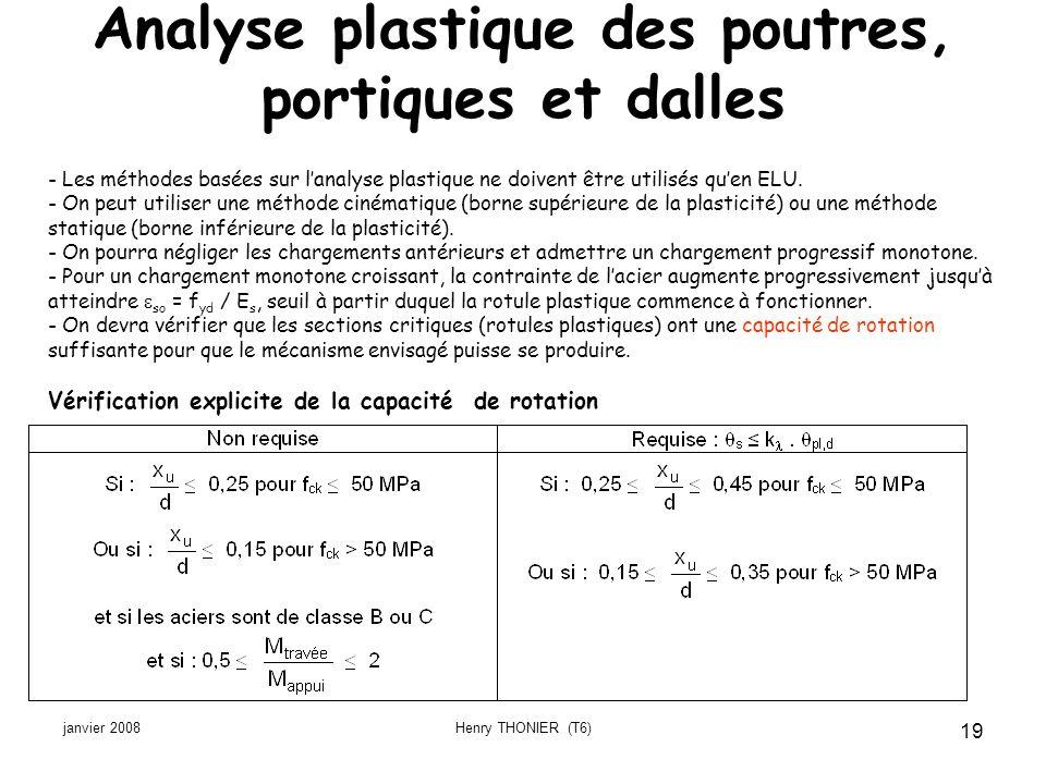Analyse plastique des poutres, portiques et dalles