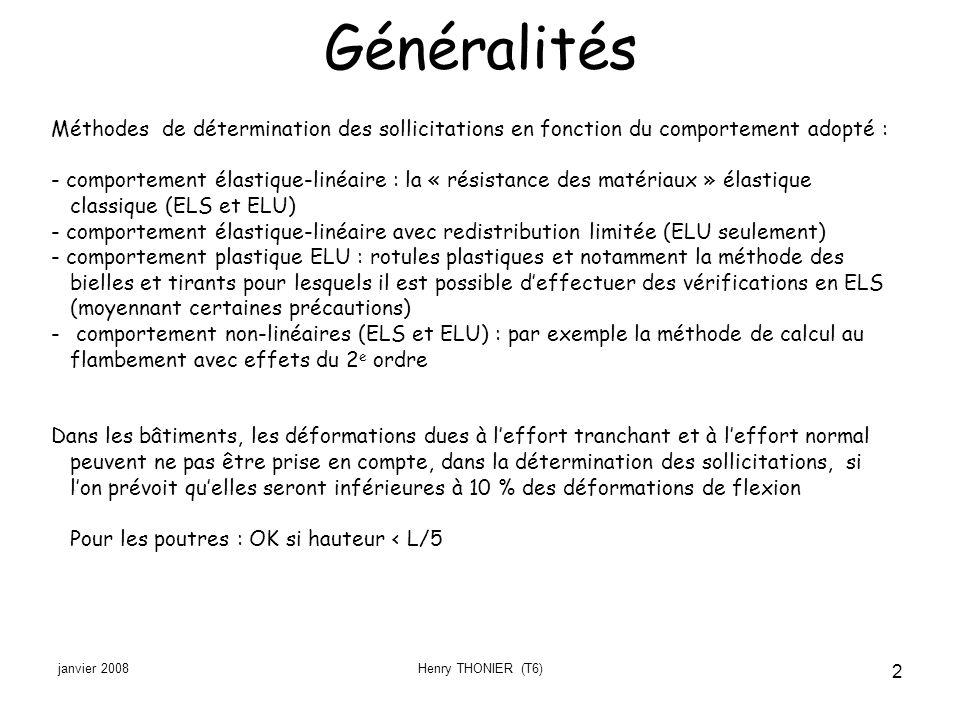 Généralités Méthodes de détermination des sollicitations en fonction du comportement adopté :