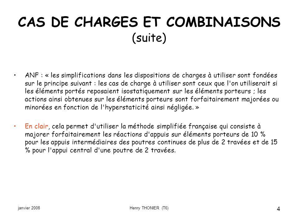 CAS DE CHARGES ET COMBINAISONS (suite)