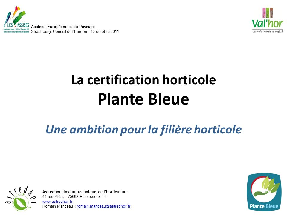 La certification horticole Plante Bleue
