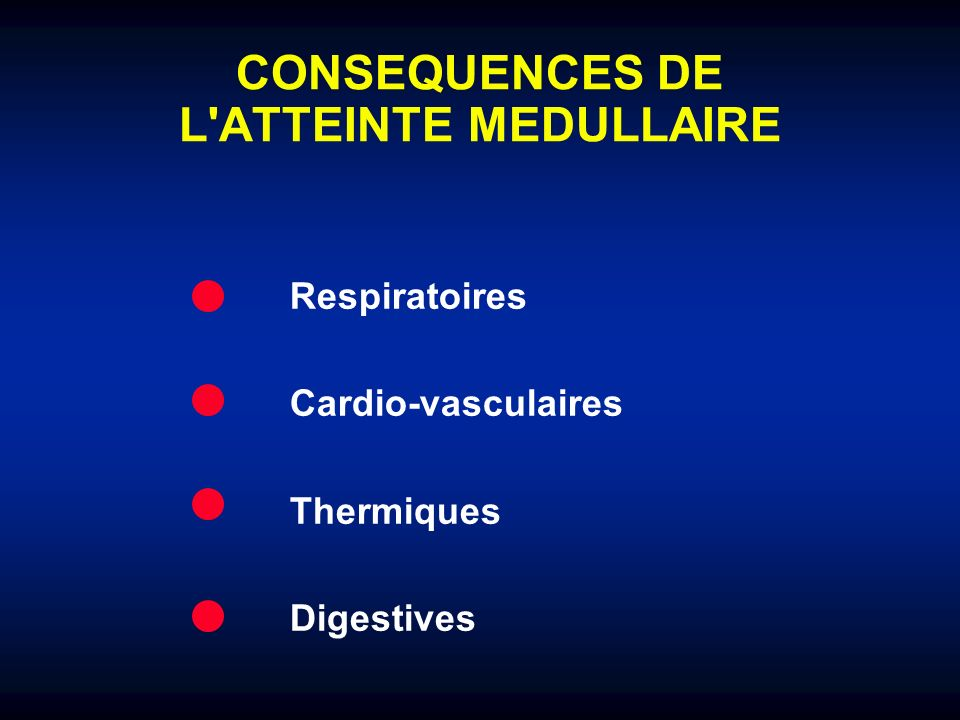 CONSEQUENCES DE L ATTEINTE MEDULLAIRE