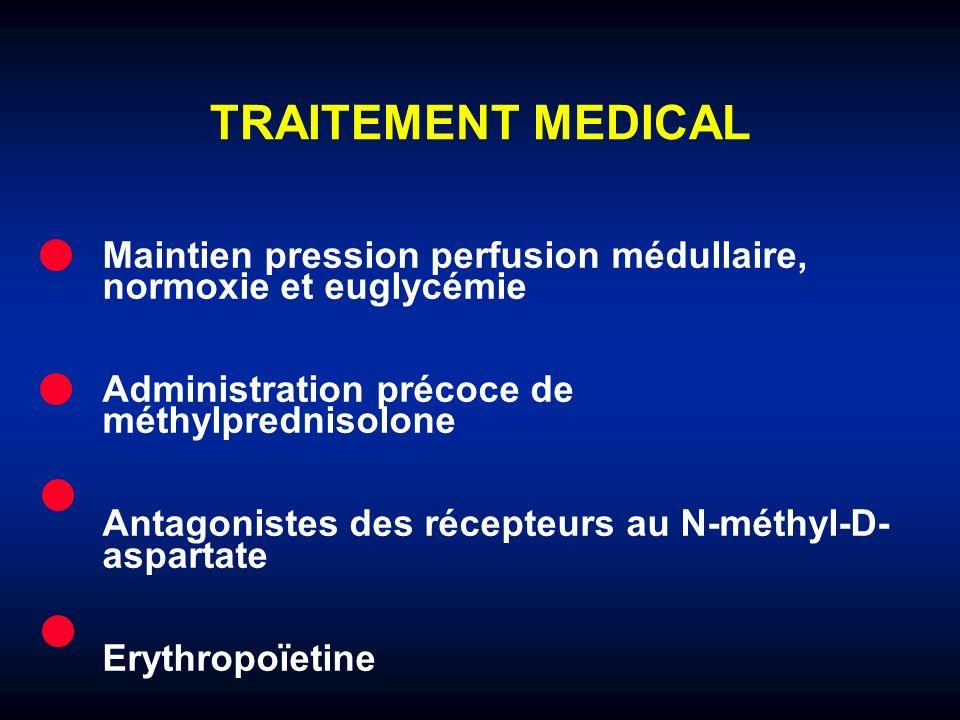 TRAITEMENT MEDICAL Maintien pression perfusion médullaire, normoxie et euglycémie. Administration précoce de méthylprednisolone.