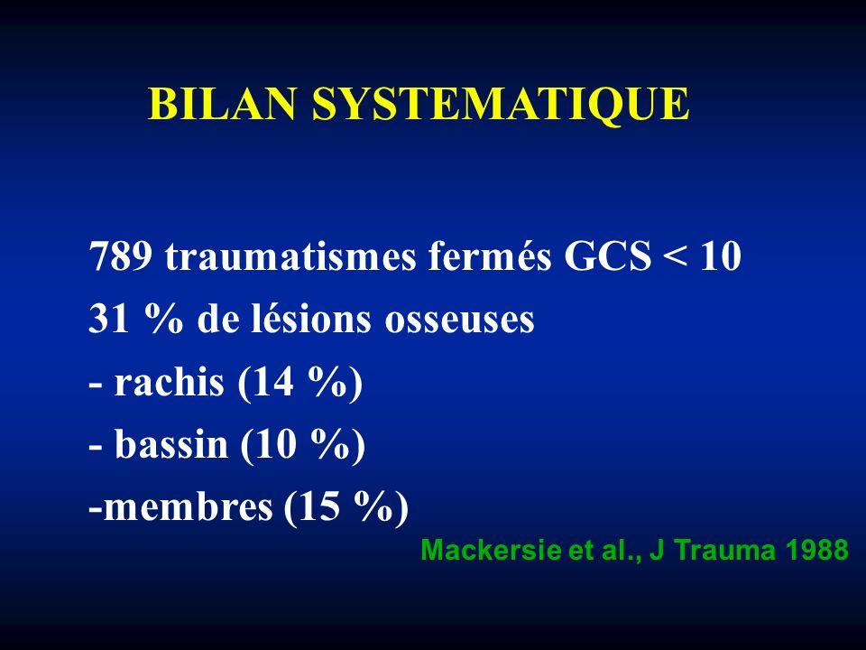 BILAN SYSTEMATIQUE 789 traumatismes fermés GCS < 10