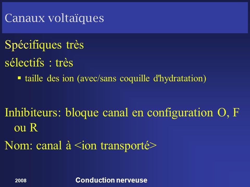 Inhibiteurs: bloque canal en configuration O, F ou R