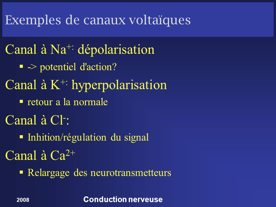 Exemples de canaux voltaïques