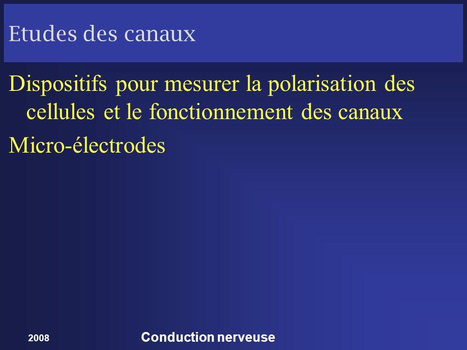 Etudes des canaux Dispositifs pour mesurer la polarisation des cellules et le fonctionnement des canaux.
