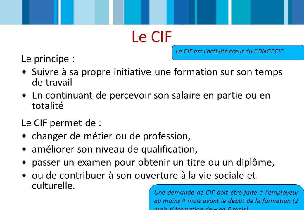 Le CIF Le CIF est l'activité cœur du FONGECIF. Le principe : Suivre à sa propre initiative une formation sur son temps de travail.
