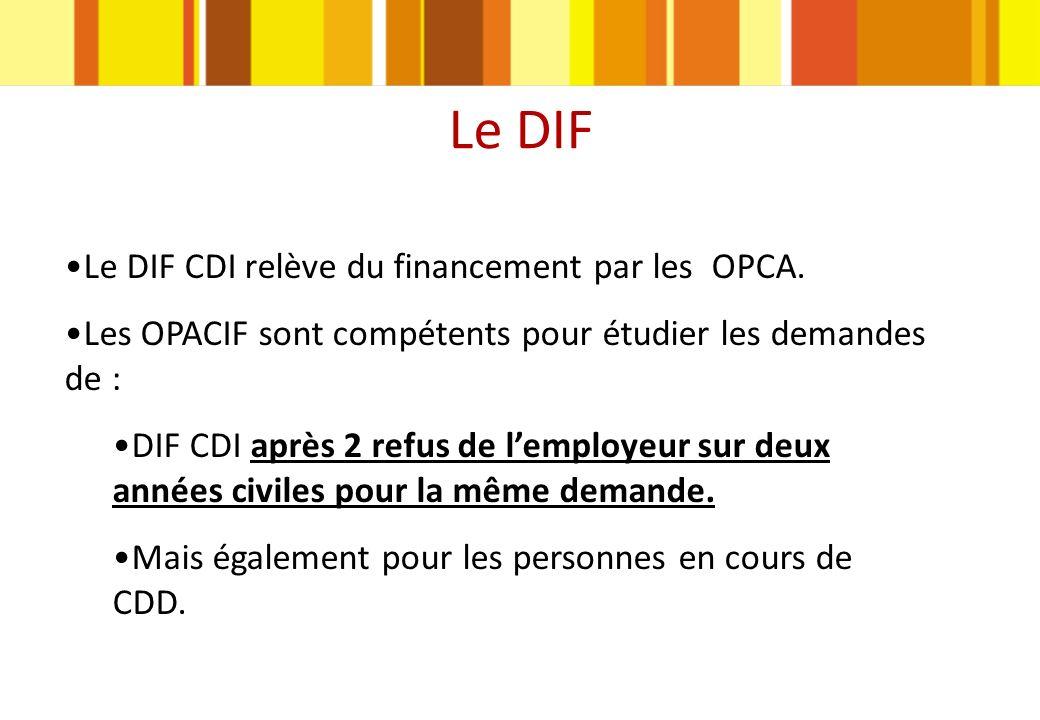 Le DIF Le DIF CDI relève du financement par les OPCA.