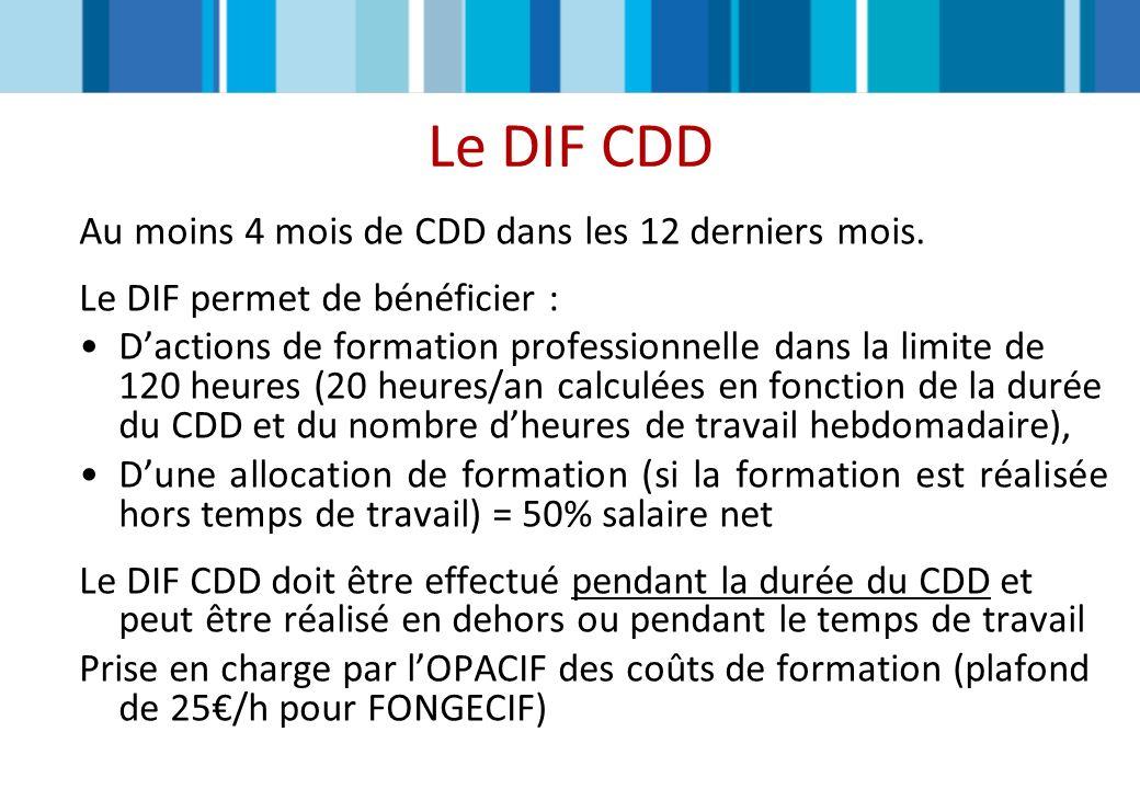 Le DIF CDD Au moins 4 mois de CDD dans les 12 derniers mois.