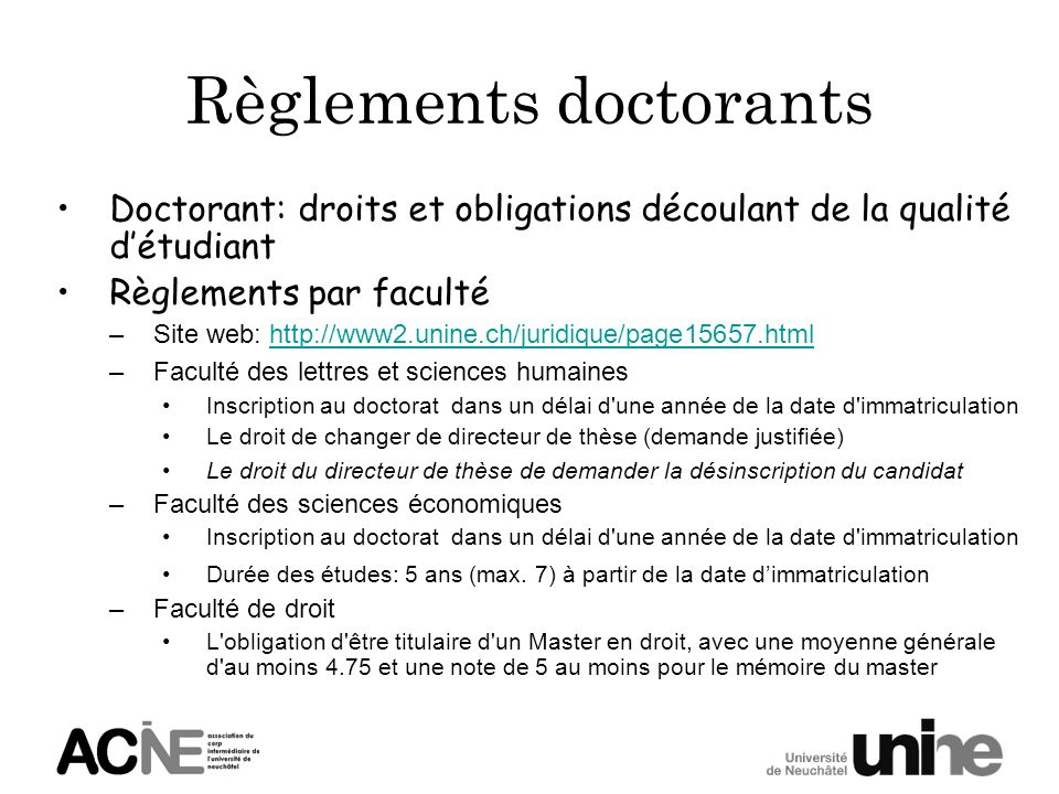 Règlements doctorants