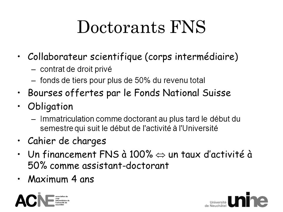 Doctorants FNS Collaborateur scientifique (corps intermédiaire)
