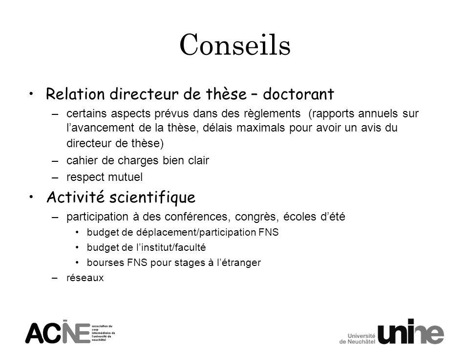 Conseils Relation directeur de thèse – doctorant Activité scientifique