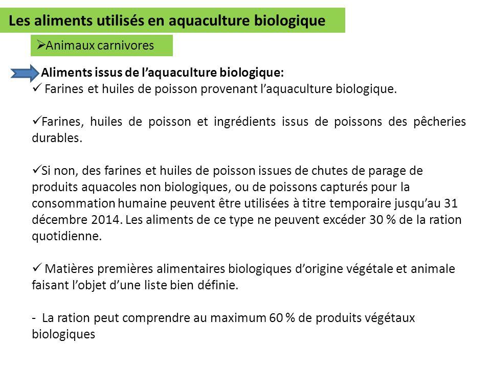 Les aliments utilisés en aquaculture biologique