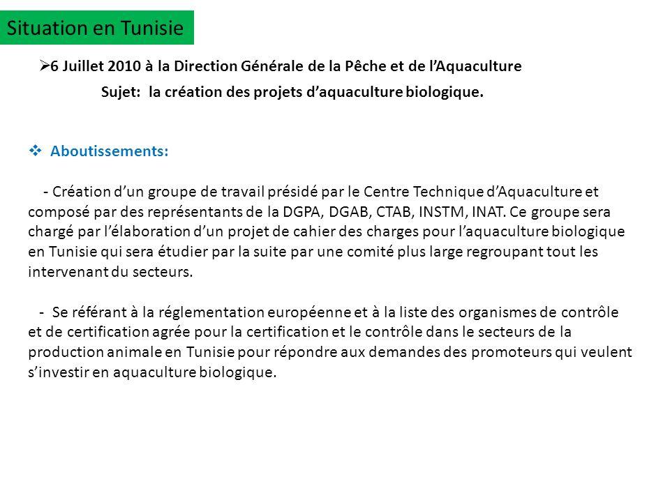 Situation en Tunisie 6 Juillet 2010 à la Direction Générale de la Pêche et de l'Aquaculture.