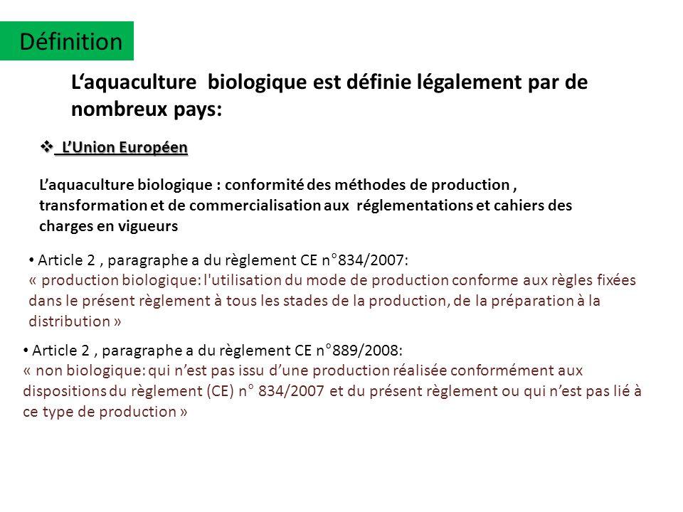 Définition L'aquaculture biologique est définie légalement par de nombreux pays: L'Union Européen.