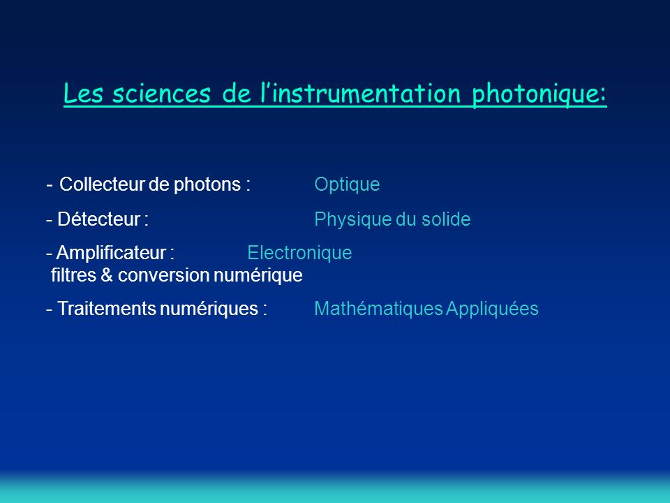 Les sciences de l'instrumentation photonique:
