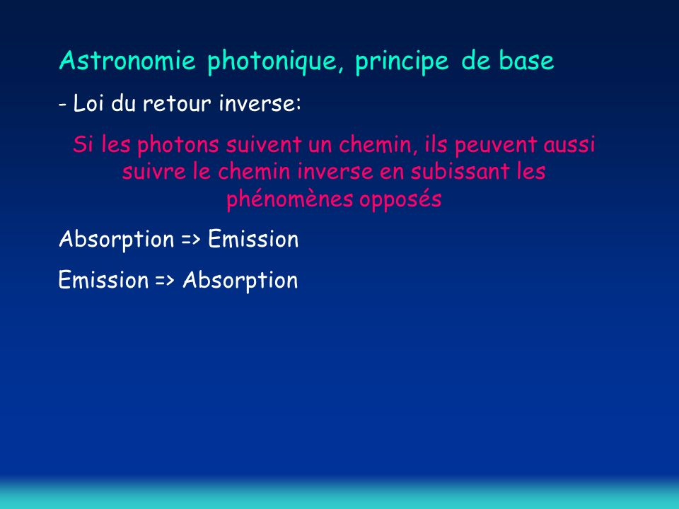 Astronomie photonique, principe de base