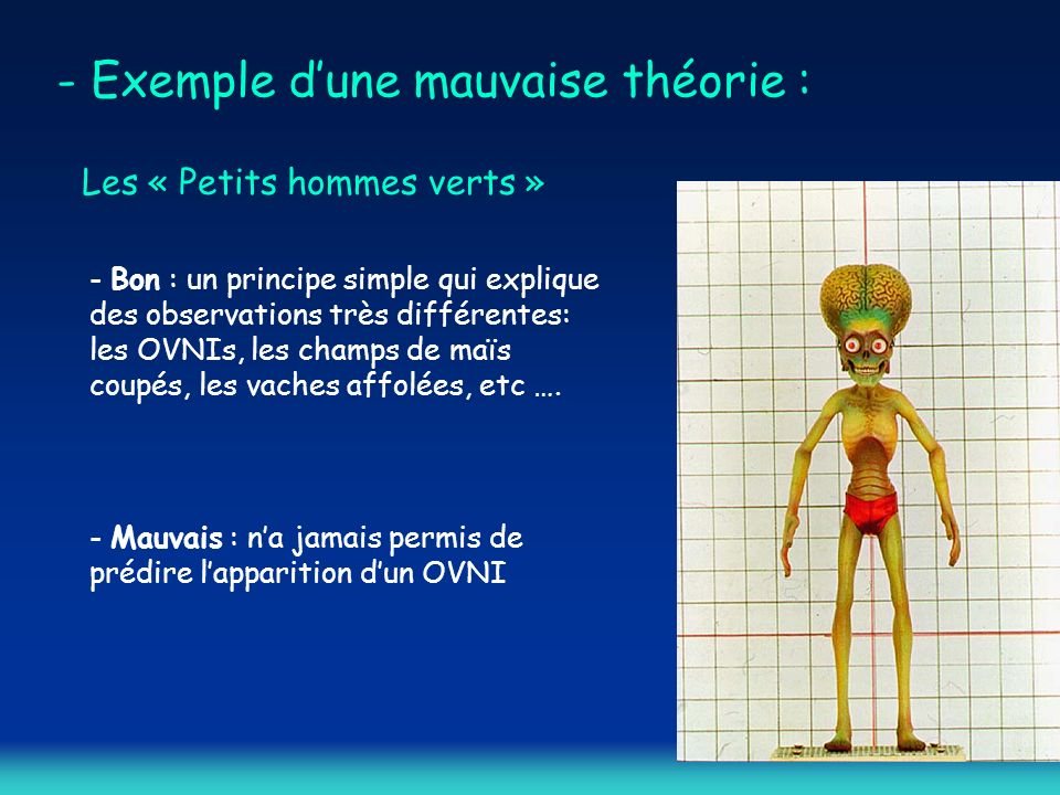 - Exemple d'une mauvaise théorie :