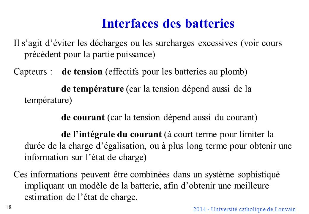 Interfaces des batteries
