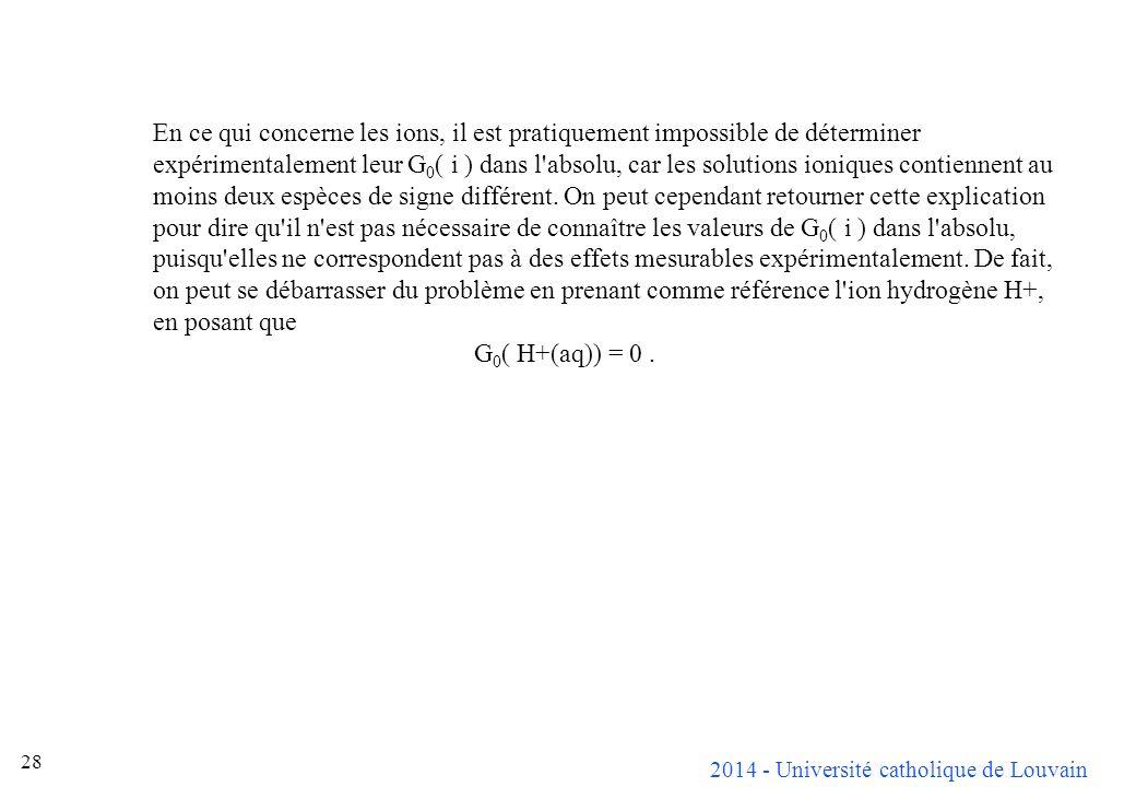 En ce qui concerne les ions, il est pratiquement impossible de déterminer expérimentalement leur G0( i ) dans l absolu, car les solutions ioniques contiennent au moins deux espèces de signe différent. On peut cependant retourner cette explication pour dire qu il n est pas nécessaire de connaître les valeurs de G0( i ) dans l absolu, puisqu elles ne correspondent pas à des effets mesurables expérimentalement. De fait, on peut se débarrasser du problème en prenant comme référence l ion hydrogène H+, en posant que