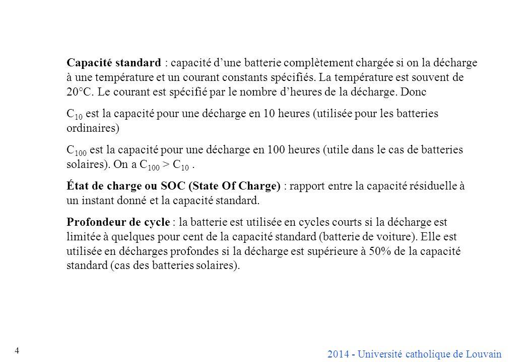 Capacité standard : capacité d'une batterie complètement chargée si on la décharge à une température et un courant constants spécifiés. La température est souvent de 20°C. Le courant est spécifié par le nombre d'heures de la décharge. Donc
