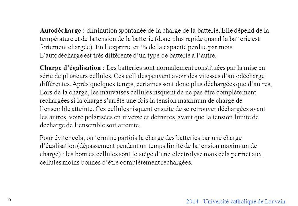 Autodécharge : diminution spontanée de la charge de la batterie