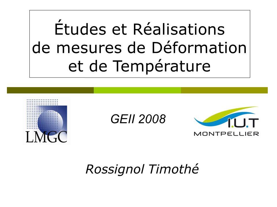 Études et Réalisations de mesures de Déformation et de Température