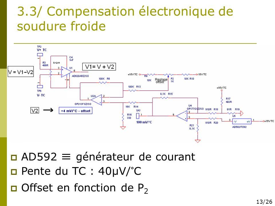 3.3/ Compensation électronique de soudure froide