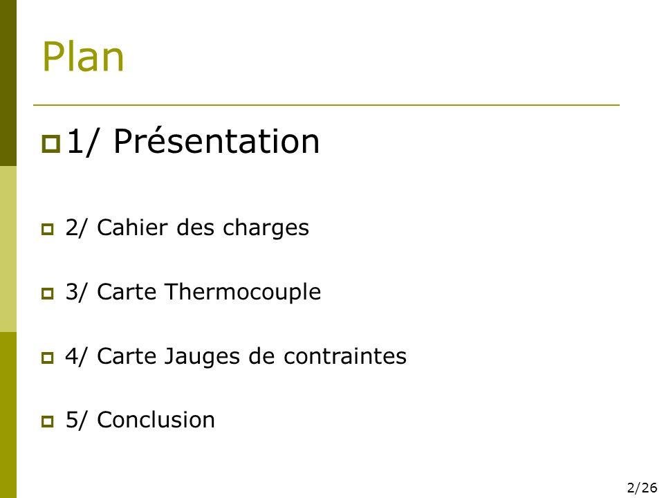 Plan 1/ Présentation 2/ Cahier des charges 3/ Carte Thermocouple