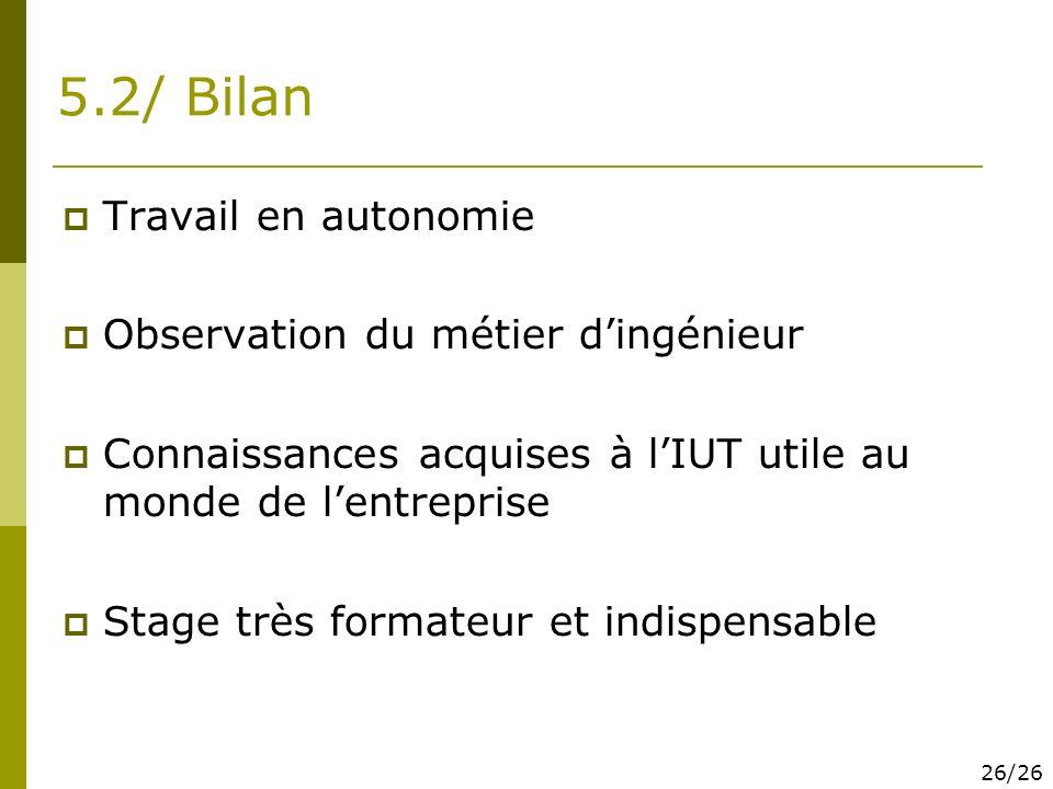 5.2/ Bilan Travail en autonomie Observation du métier d'ingénieur