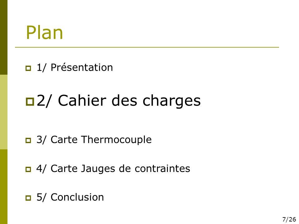 Plan 2/ Cahier des charges 1/ Présentation 3/ Carte Thermocouple