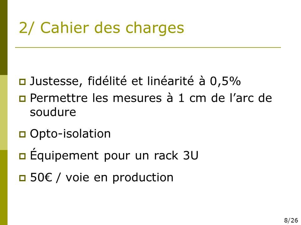 2/ Cahier des charges Justesse, fidélité et linéarité à 0,5%