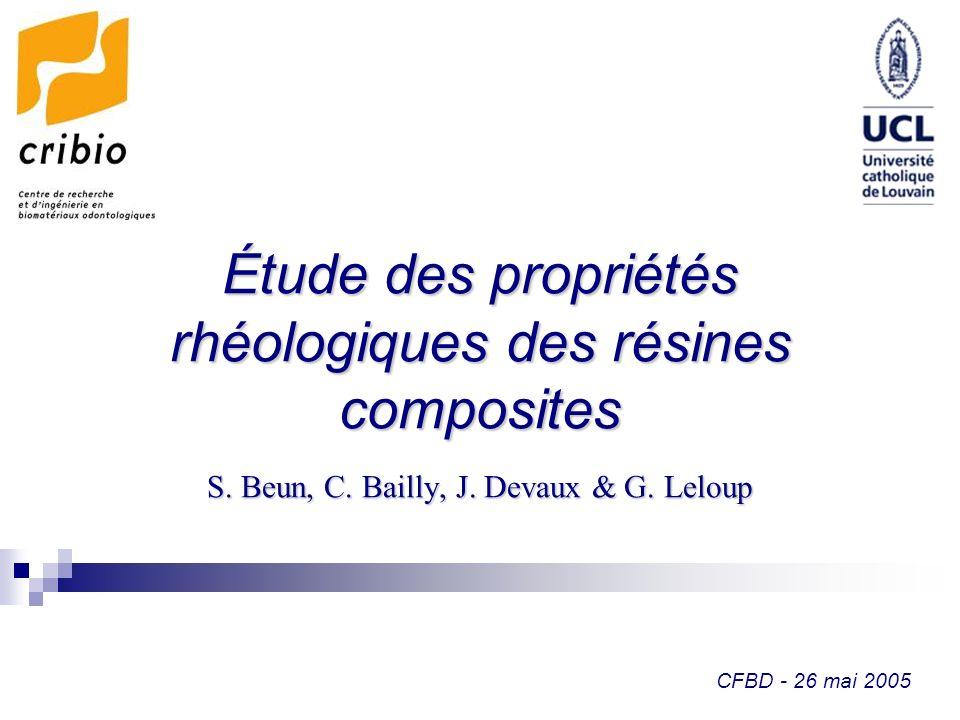 Étude des propriétés rhéologiques des résines composites
