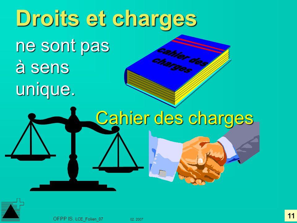 Droits et charges ne sont pas à sens unique. Cahier des charges