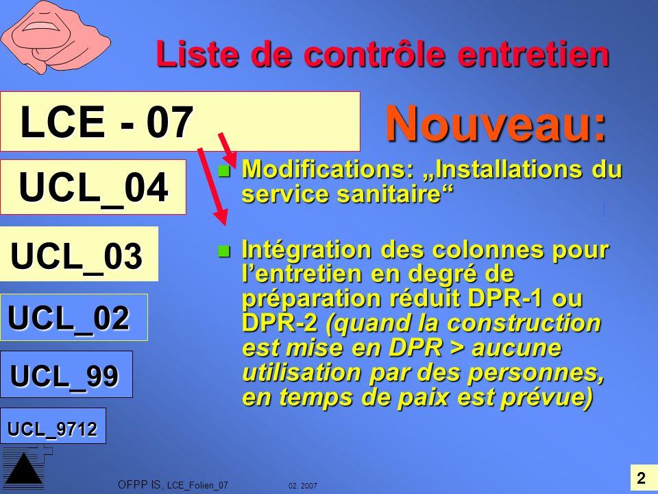 Nouveau: LCE - 07 UCL_04 Liste de contrôle entretien UCL_02