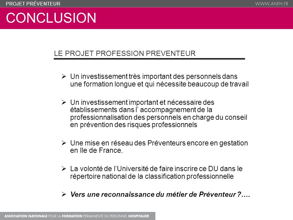 conclusion Le Projet Profession Preventeur