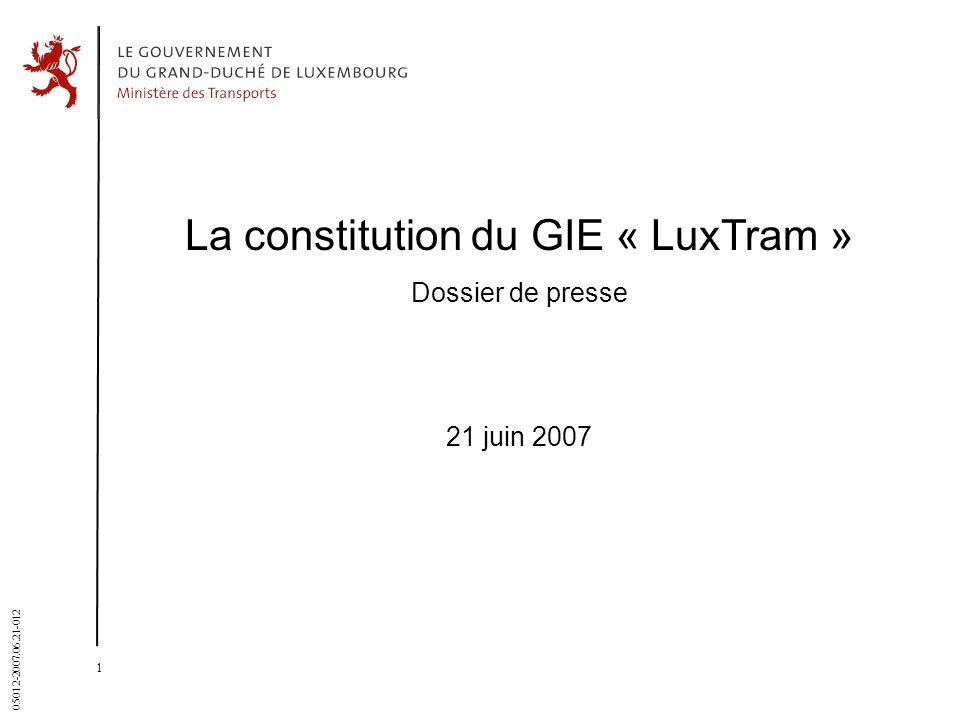La constitution du GIE « LuxTram »
