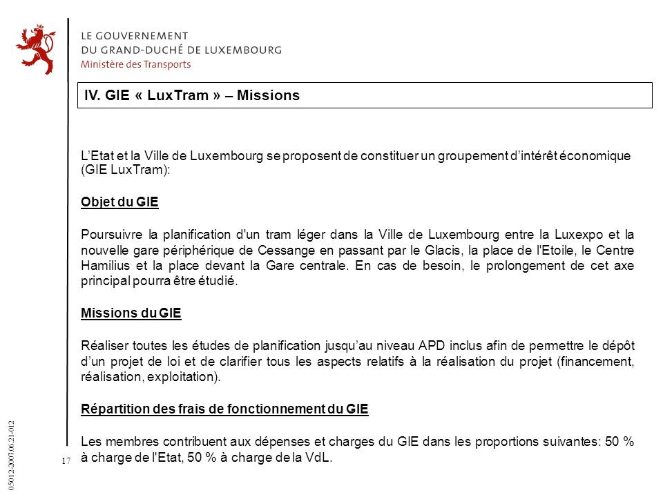 IV. GIE « LuxTram » – Missions